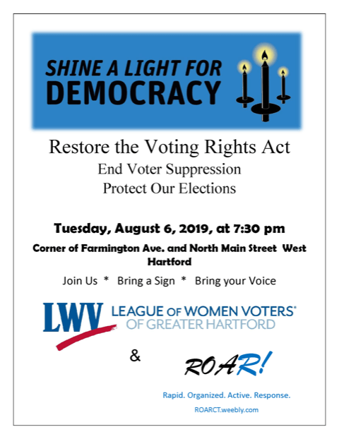 Voting Rights Act flyer for West Hartford Democrats