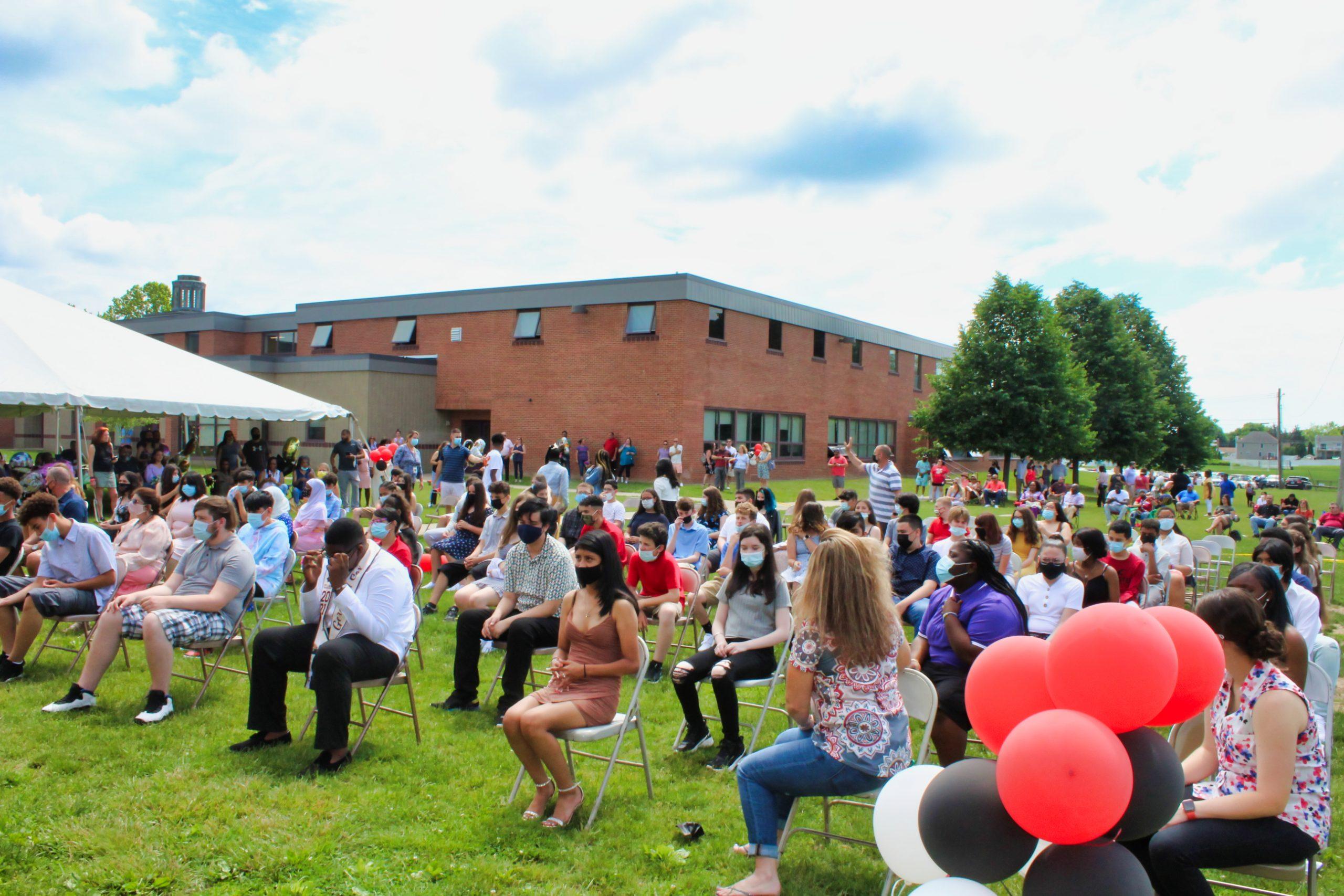 Schools host outdoor promotion ceremonies