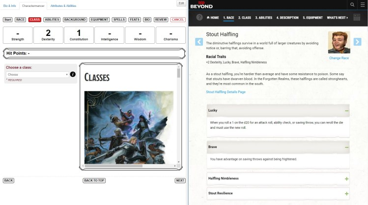 Sheetpicking: D&D Beyond Versus Roll20's Charactermancer