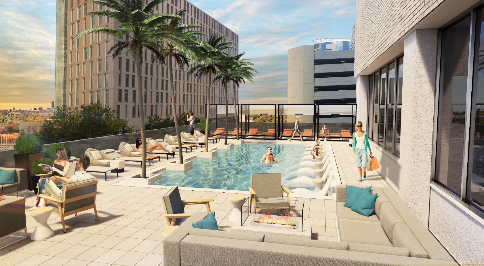 Westin Houston Medical Center Rooftop Pool and Bar Rendering Pre-launch