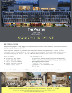 Earn rewards for booking your event at Houston hotel Westin Houston Medical Center
