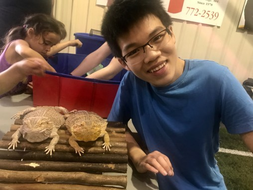 Xi showing off the Bearded Dragons