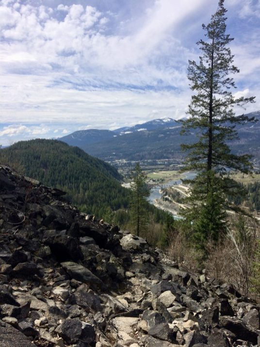 Looking back after scrambling over the rockfall