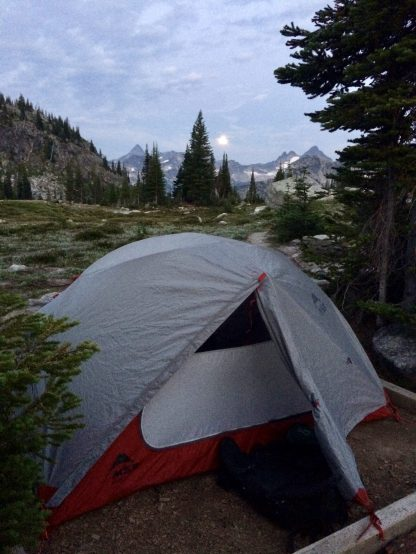 Out tent with the full moon