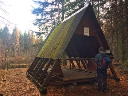 A-Frame shelter on the near side