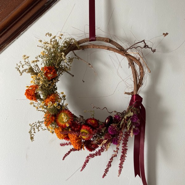 Autumn Rainbow Grape Vine Wreath