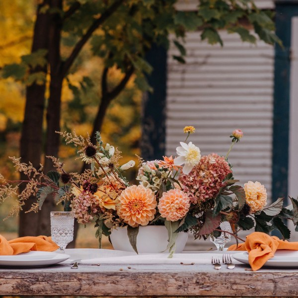 Long and Low Wedding Table Arrangement
