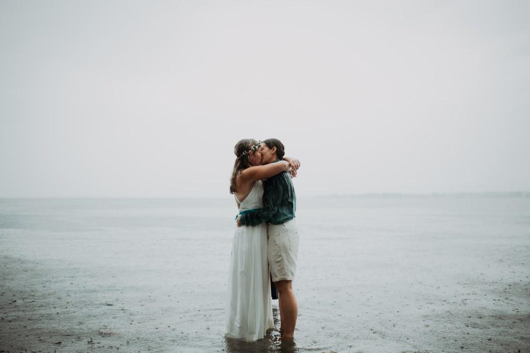 Two Brides Kissing Lake Champlain