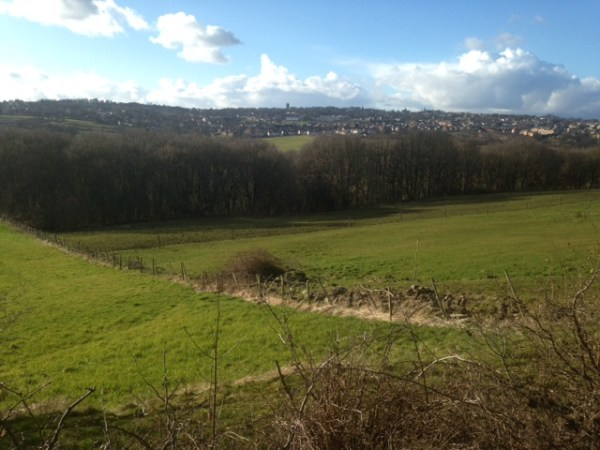 The view from in front of The Beulah Pub, Farnley, over to Pudsey and Troydale