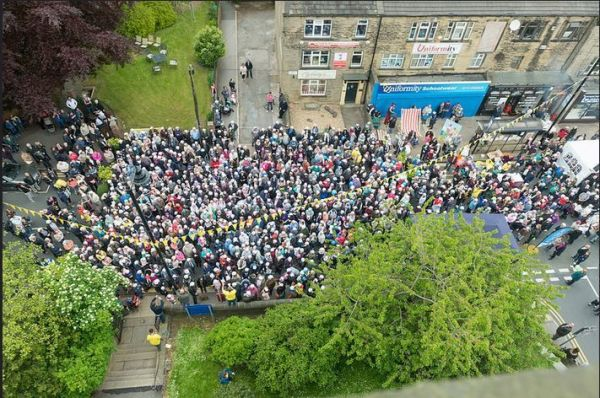 A busy Farsley Town Street at the 2015 festival. Photograph copyright Farsley Festival