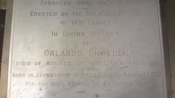Pudsey Service of Remembrance for World War One's Orlando Snowden