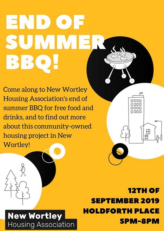 New Wortley Housing Association end of summer bbq event flyer