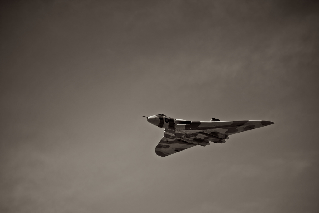 Black and White Avro Vulcan flying