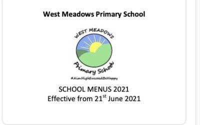 New School Menus fron 21st June