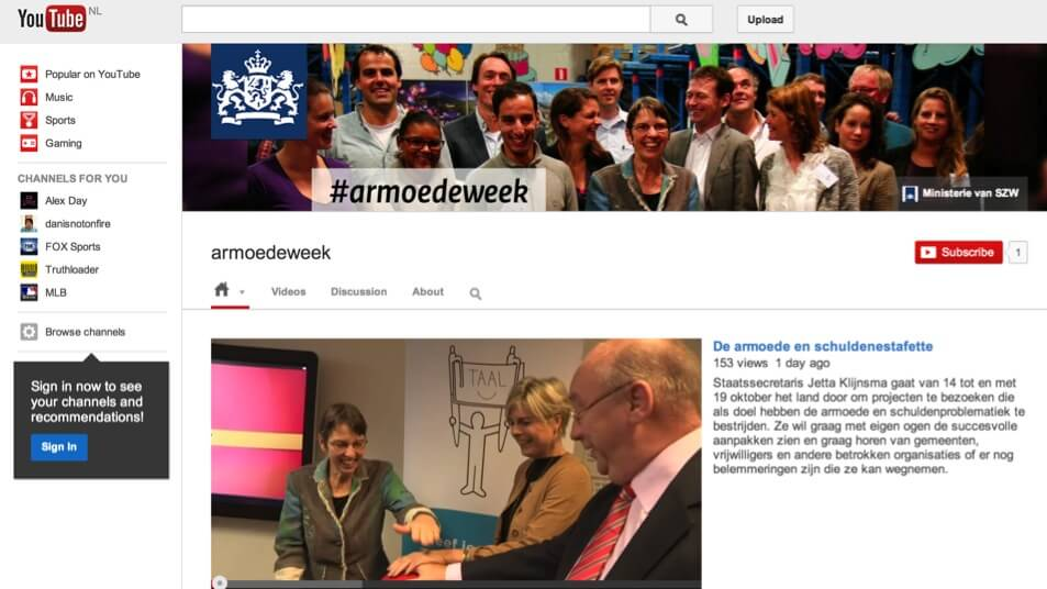 Real-time videoverslaggeving armoedeweek via Youtube-kanaal