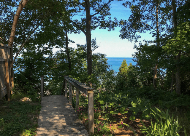 Top of the beach stairs.