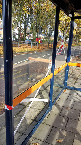 bus with window smashed photo