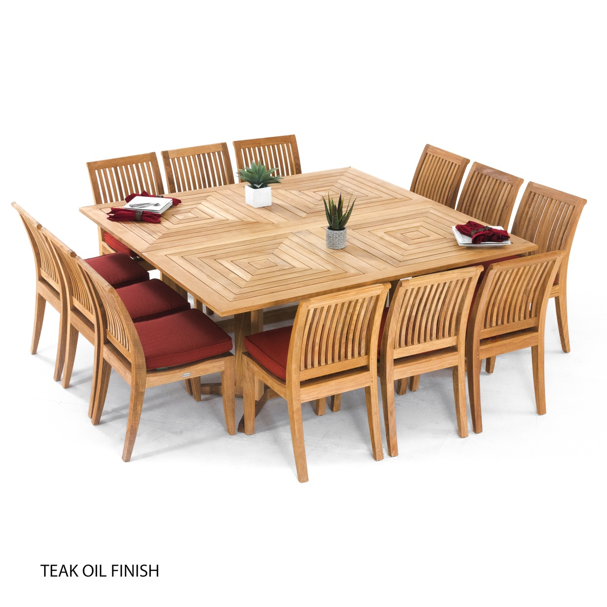 Teak Dining Room Chairs Large Teak Dining Set For 12 People