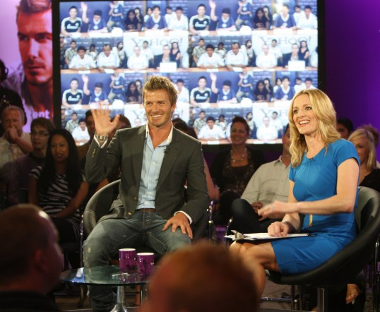 ITV have used Gabby Logan, here with David Beckham, to front key football coverage. Credit: onEdition
