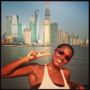 Lucy Masoud on one of her travels to Shanghai, China.