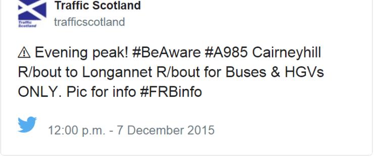 Traffic Scotland reroutes commuters in a tweet.