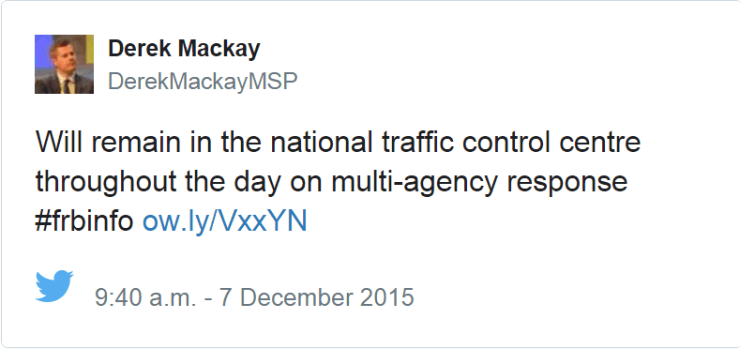 Transport Minister's tweet