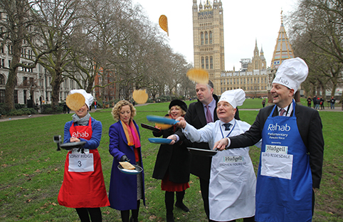 David Burrowes, Liz McInnes, Stephen Pound, Cathy Newman, Alan Duncan and Clive Lewis at the annual Parliamentary Pancake Race. Credit: Jay Belmar