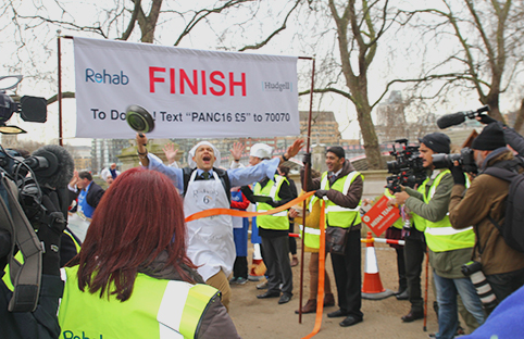 Labour MP Clive Lewis crossing the finish line.