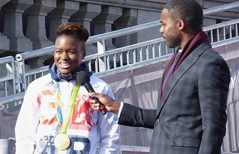 Two-time gold medalist Nicola Adams addresses the crowd. [Photo: Lee / CC BY 2.0]