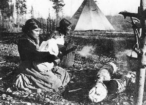 Three generations of Beaver women at West Moberly Lake, British Columbia