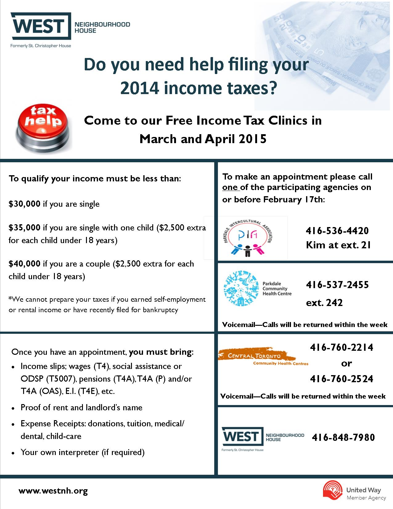 Do You Need Help Filing Your 2014 Income Taxes?  West