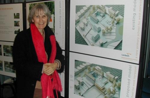 Cllr Jackie Meldrum viewing  the  school plans