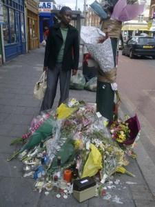 Cllr Jenny Brathwaite at floral tribute