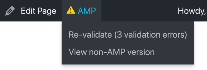 Admin Bar for page with invalid AMP markup removed