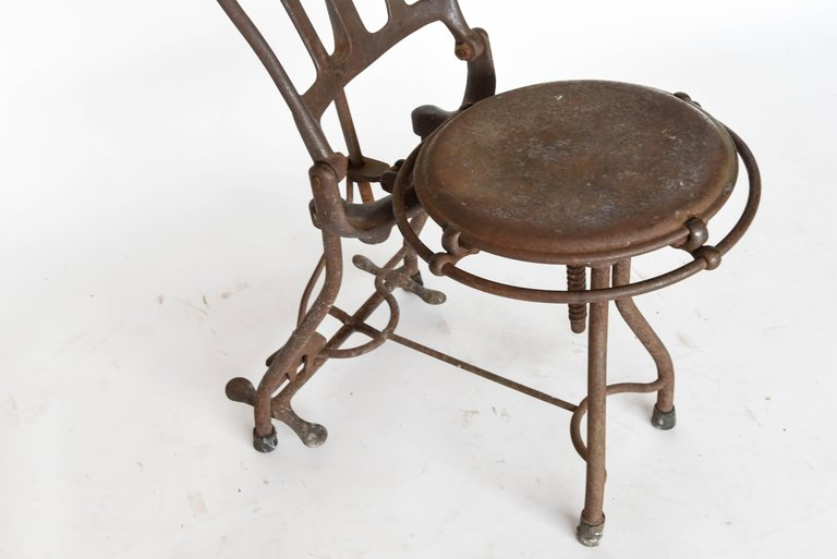industrial metal chairs and stool antique 1920s medical dental iron chair west