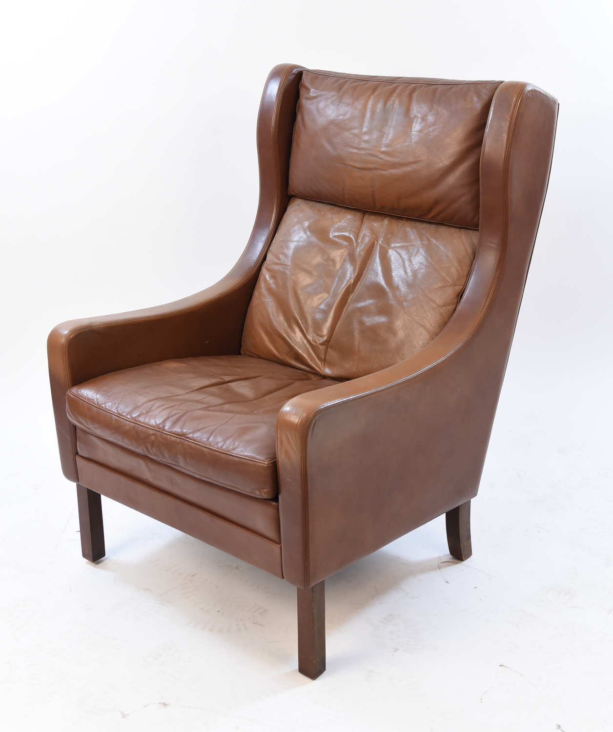 Brown Leather Wingback Chair Borge Mogensen Style Cognac Colored Leather Wingback Chair