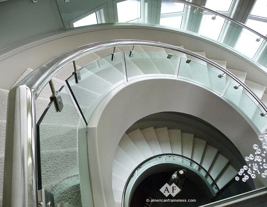 American Frameless Glass Stair Railings 1 800 606 1776 | Curved Glass Staircase Railing | Half Circle | Aluminium | Tuffen | Interior Modern Glass | Stone Glass
