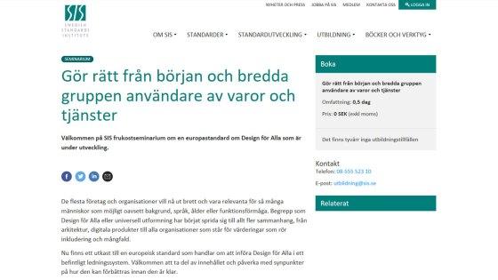 Screen dump describing the seminar at SIS.se