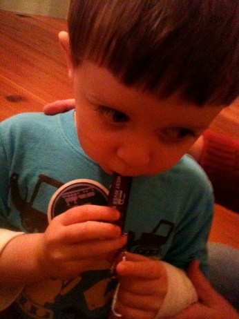 A little friend of the WRT, blowing a toy train whistle (photo by Chrissy Blaylock)
