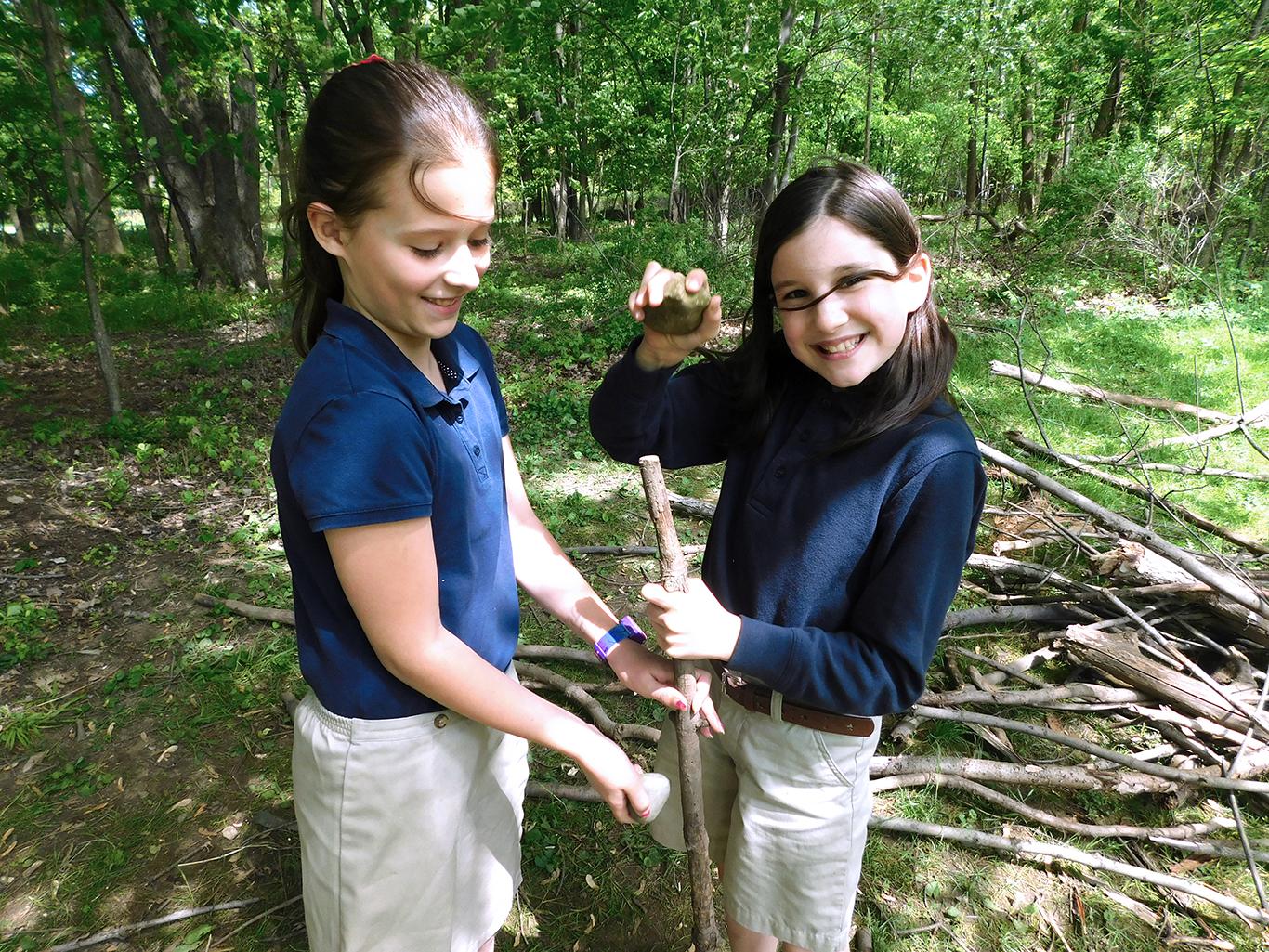 Third Grade Girls Building a Fort