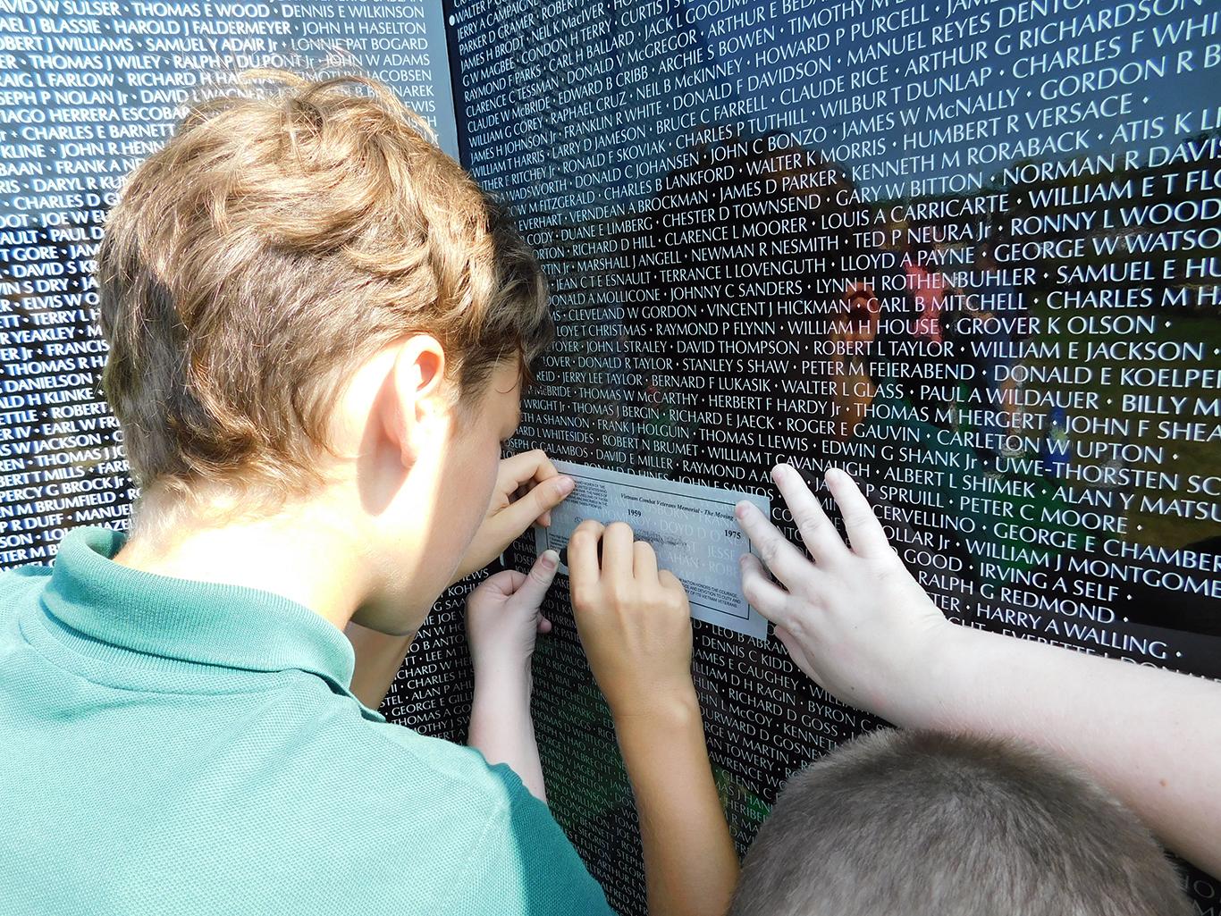 6th Grader at the Traveling War Memorial