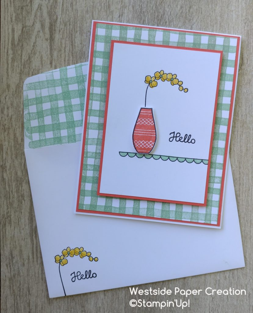 A card and matching envelope using the Varied Vases Stamp Set and Brushstrokes Background Stamp