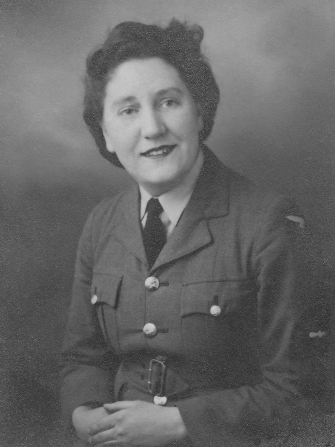 Portrait photograph of Mary Walker in her Women's Auxiliary Air Force uniform.