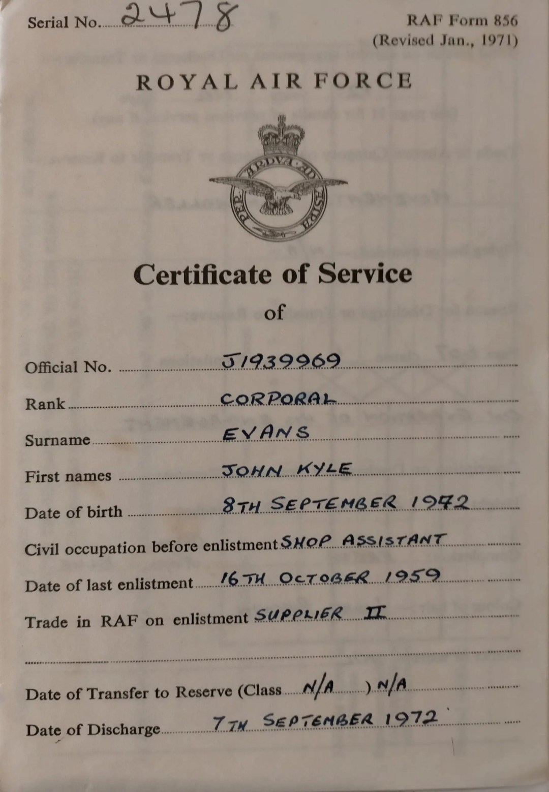 John Evans Certificate of Service Page 1