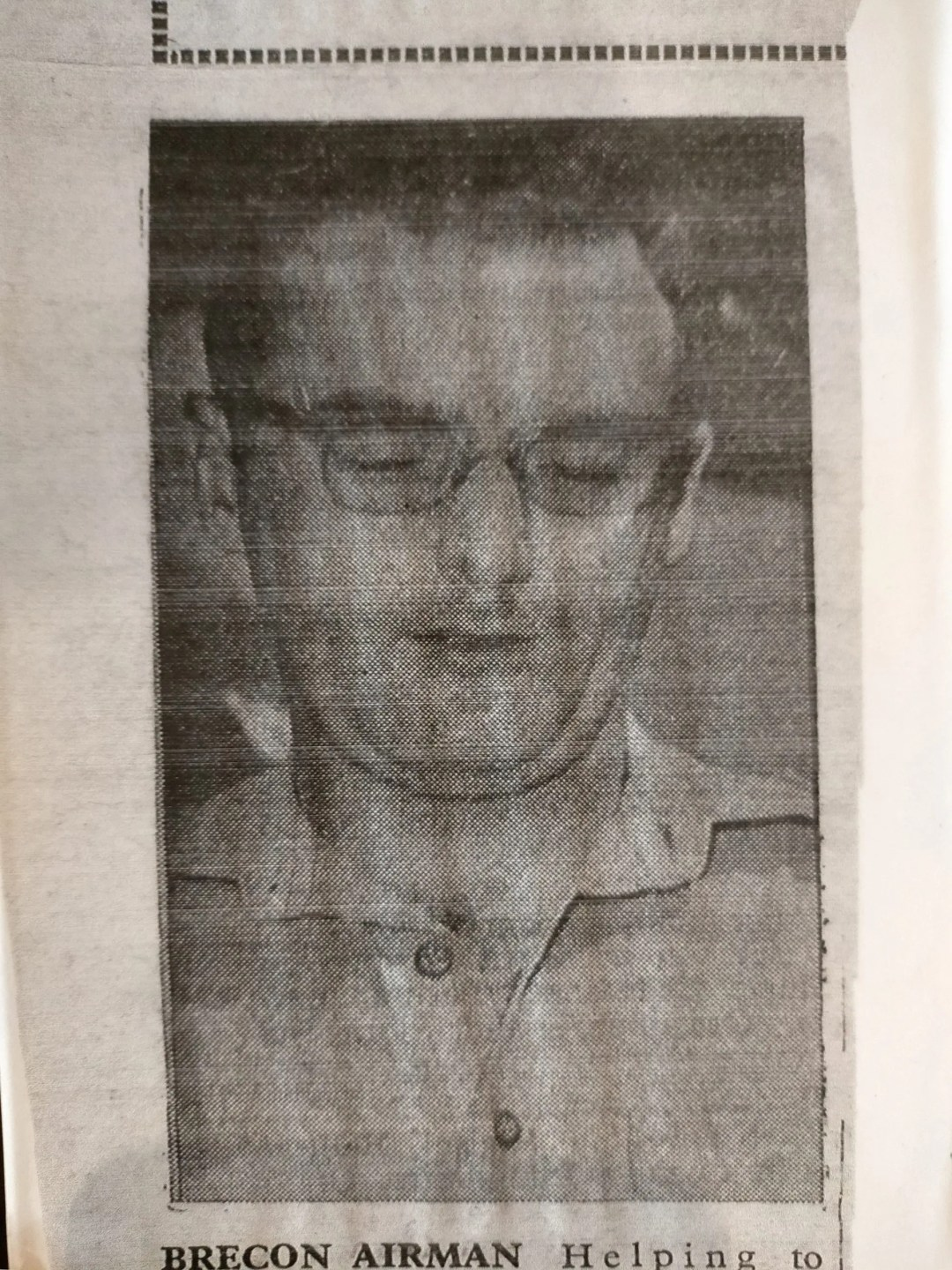 Photograph of a newspaper clipping, showing John Evans while serving in Bahrain.