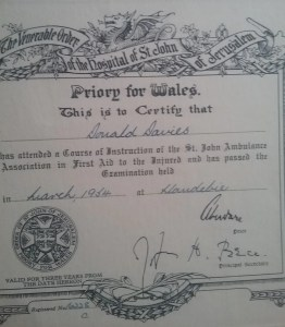 St Johns Ambulance First Aid Certificate awarded to Don Davies. March 1954.