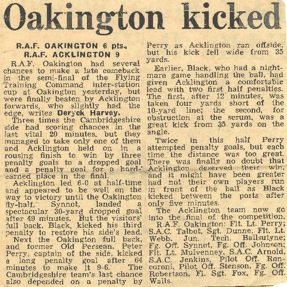 Newspaper clipping covering a rugby match between RAF Oakington and RAF Acklington.