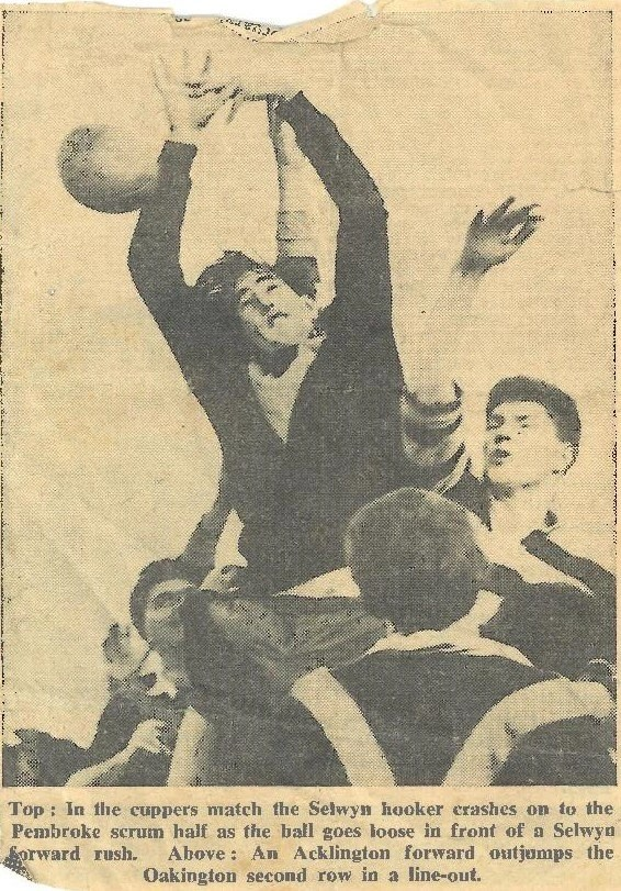 Newspaper clipping covering a rugby match between RAF Oakington and RAF Acklington. Photograph.
