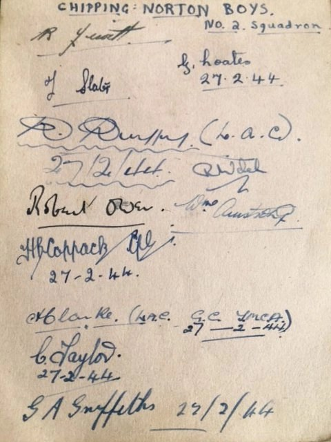 Page of signatures from No. 2 Squadron members. 27th February 1944.