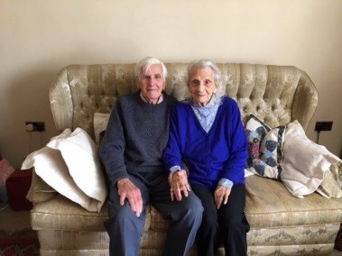 John and Adelaide Martin sit together at home in Tanygroes in May 2021.